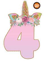 Топпери цифри Єдиноріжки   Цифри єдинороги   Топпери цифри на торт   Набір або поштучно 4