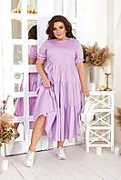 Красивое летнее лёгкое женское платье хлопок голубое пудра сирень серое 48-50 52-54