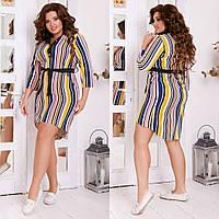 Стильное женское платье-рубашка свободного кроя с поясом летняя костюмка 42-44 44-46 48-50 52-54 56-58