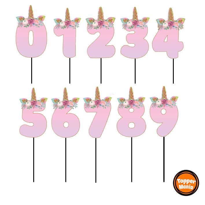 Топперы цифры Единорожки | Цифры единороги | Топперы цифры на торт | Набор или поштучно