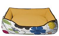 Диван для животного COZY FLO, прямоугольный, оранж/цветы, 60x50x20 см