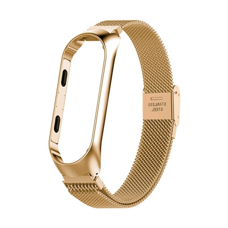 Ремешок для фитнес браслета Xiaomi Mi Band 3 и 4 Mesh steel Gold