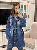 Кардиган женский джинсовый стильный декорирован стразами большие размеры Pvv192