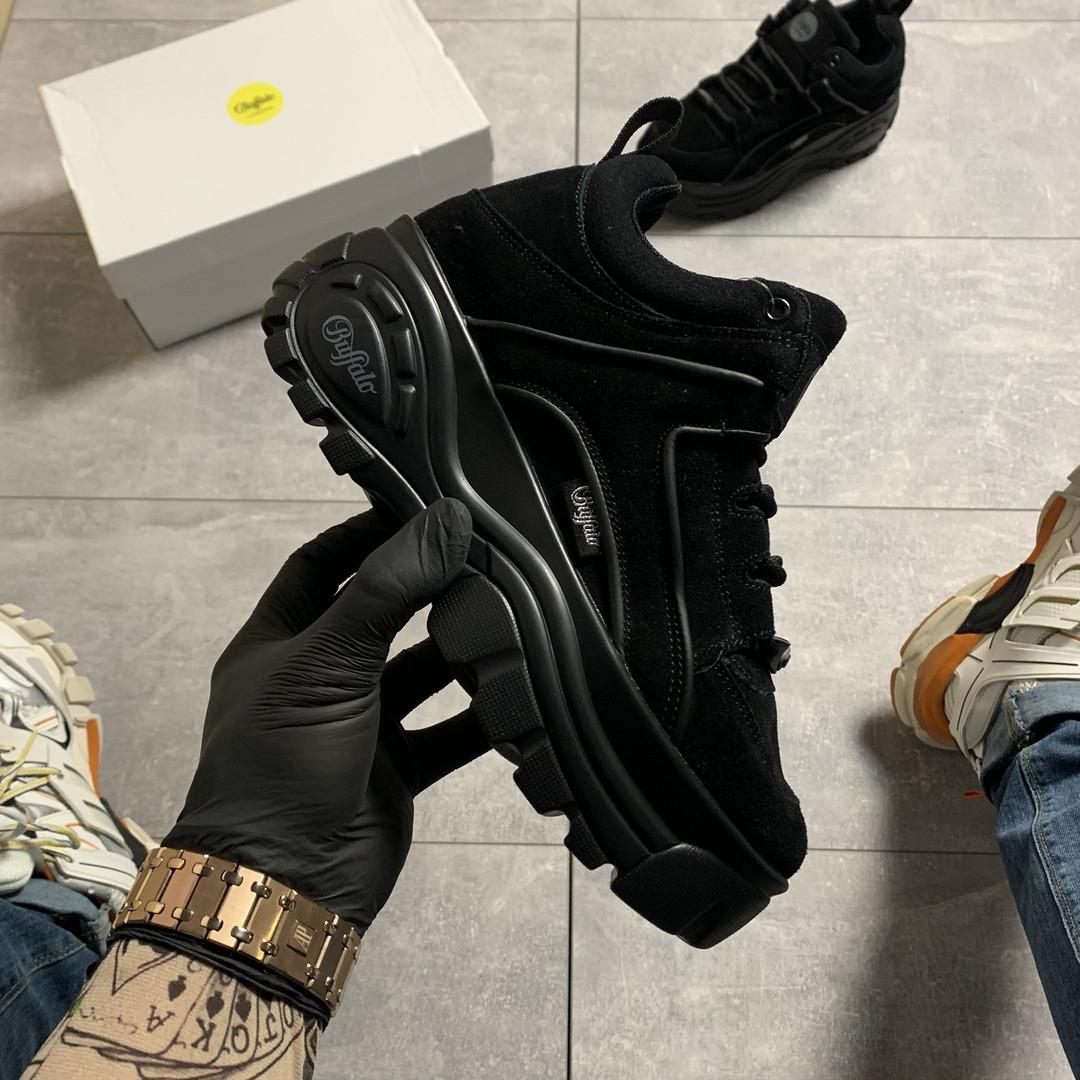 Женские кроссовки Buffalo London Black Suede, женские кроссовки буффало лондон