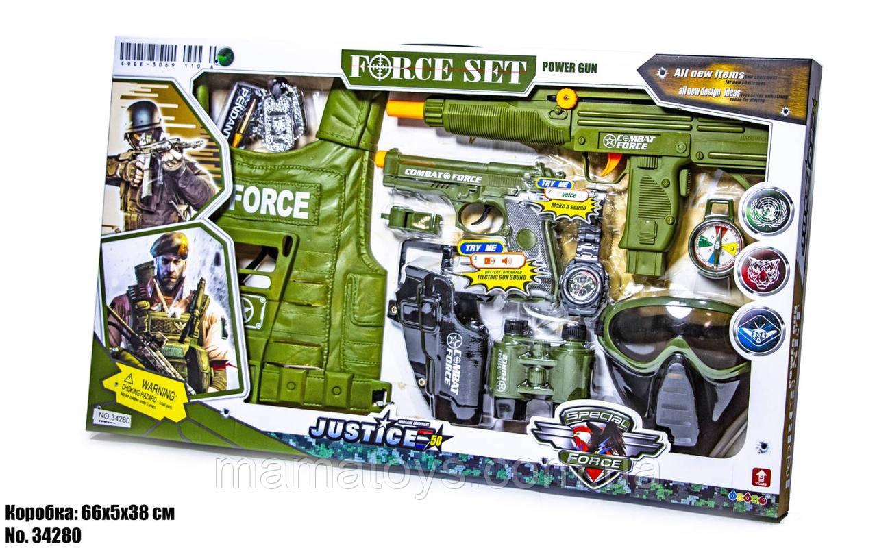 Игровой Набор военный 34280 Автомат, пистолет, звук, жилет, маска