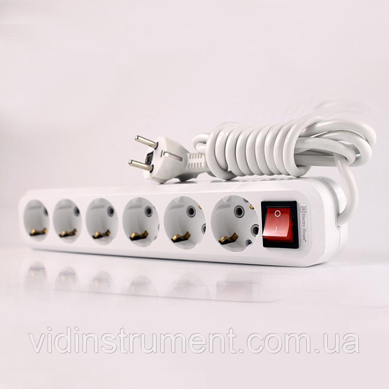 ElectroHouse Удлинитель 6 гнезда с кнопкой, длина 3м с заземлением