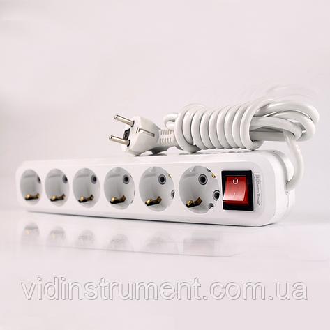 ElectroHouse Удлинитель 6 гнезда с кнопкой, длина 3м с заземлением, фото 2