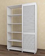 Шкаф с жалюзийными дверями из натурального дерева Тавол Сиеко 1Д2С4ПОЛ 1120х380х1770 Белый