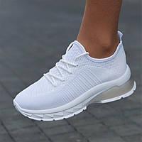 Кроссовки женские белые летние сетка модные на толстой подошве популярные (Код: Л1754)