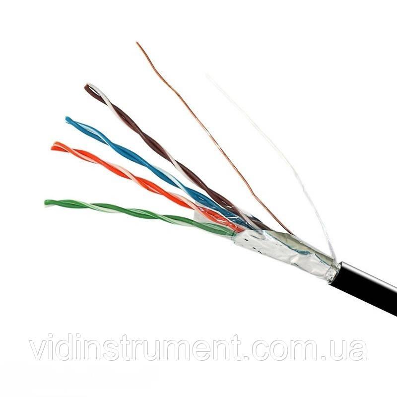 ElectroHouse Кабель FTP  4х2х0,51 Cu черный (наружный монтаж, со стальной проволокой)
