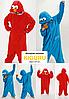 Пижама кигуруми Cookie Monster красный и голубой, фото 4