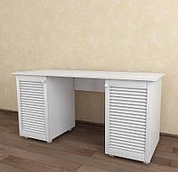 Стол письменный с жалюзийными дверями из дерева Тавол Сиеко СТ2Т 1500х600х750 Белый