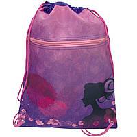 15061-JO Мешок сумка для обуви с карманом на молнии Силуэт 39*30 см для девочки