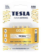 Щелочные батарейки TESLA GOLD+ AAA (LR03) 4 шт.