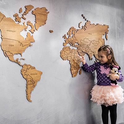 Карта мира деревяная (дуб, ясень)