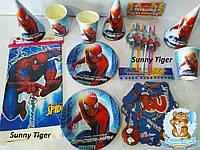 """Набор для детского дня рождения """"Человек Паук"""". Тарелки, стаканы, колпачки, трубочки, скатерть, гирлянда"""