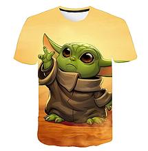 Яркая футболка  размера L рисунок Baby Yoda Мандалорец Беби Йода The