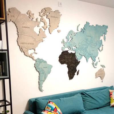 Карта мира на стену тонированная