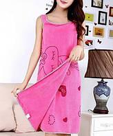 Женское полотенце халат для сауны и бани микрофибра (034989) Малиновый