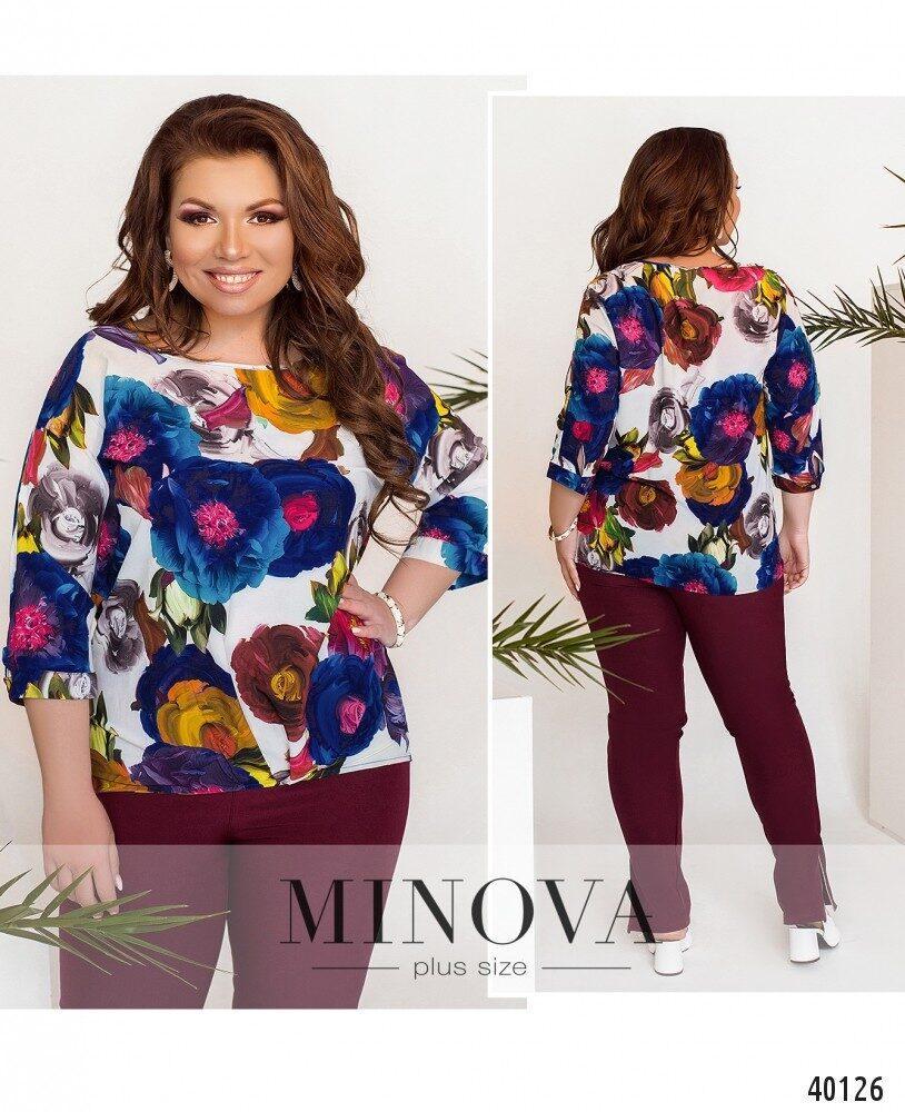 Яркая блуза с цветочным пастельным принтом Размеры 50,52,54,56