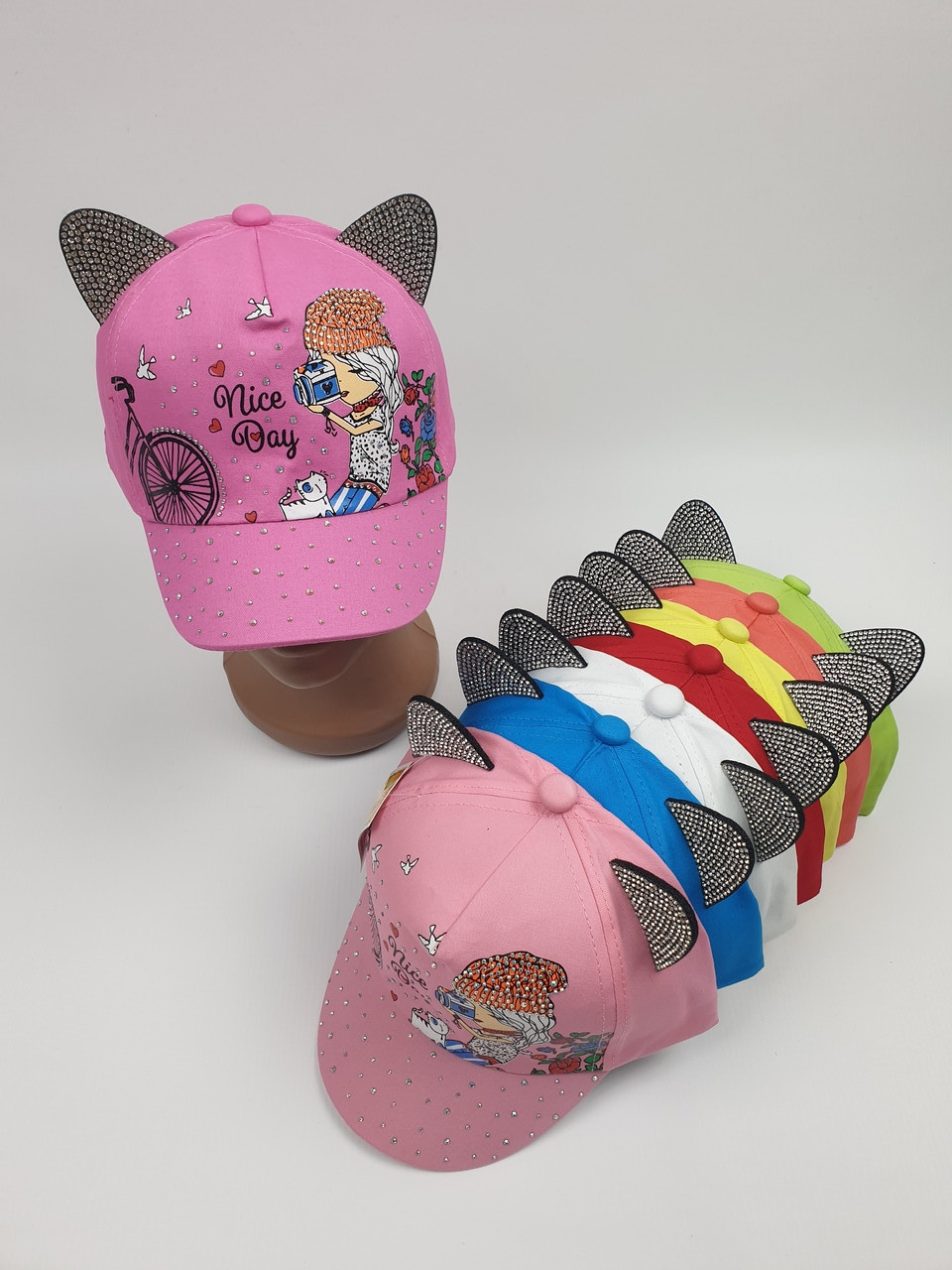 Детские кепки с ушками для девочек оптом, р.50