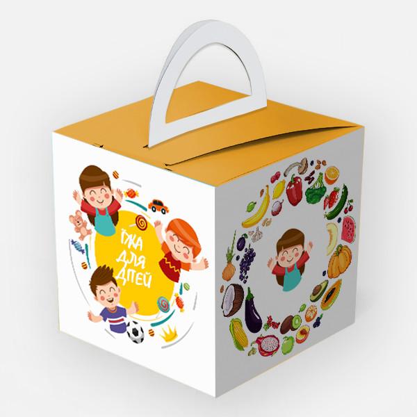 """Картонная упаковка для детской еды """"Кидс Меню"""" макси, 150х15"""