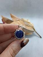 Сапфир кольцо круглое с сапфиром в серебре перстень сапфир 17 размер Индия