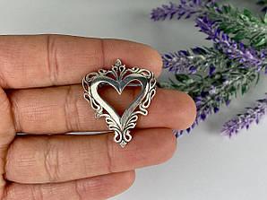 Серебряная брошь 925 проба   Сердце