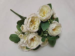 """Искусственные цветы. Букет роз """"Остин"""" белый."""