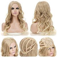 Кучерявый парик без челки Ida AT без челки, термоволокно, мелирование цвет блондин