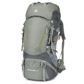 Рюкзак туристический Free Knight Trekking 60 литра для трекинга Зеленый.