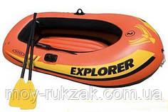 """Надувная двухместная лодка Intex """"Explorer 200"""", 58331, весла + насос, 186х94х41см, до 95кг"""