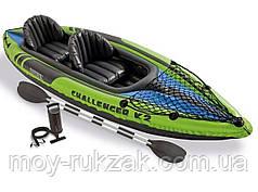 """Надувная двухместная байдарка (каяк) Intex """"Challenger K2 kayak"""", 68306, с насосом и вёслами, 351х76х38см"""