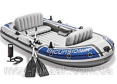 """Надувная четырехместная лодка Intex """"Excursion 4 Set"""", 68324, с насосом и вёслами, 315х165х43см"""