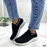 Женские кроссовки текстильные в сеточку, черные на белой подошве, фото 2