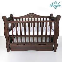 Дитяче ліжечко Angelo Lux-10 Корона Темний горіх