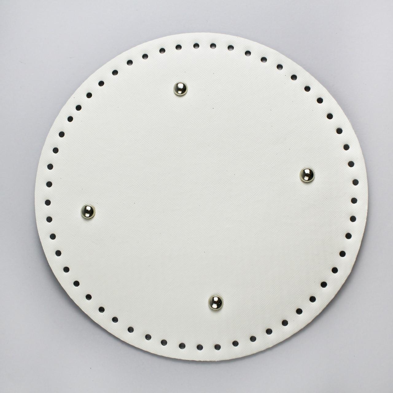 Донышко круглое для сумки экокожа Белое Ø 22 см с ножками фурнитура серебро