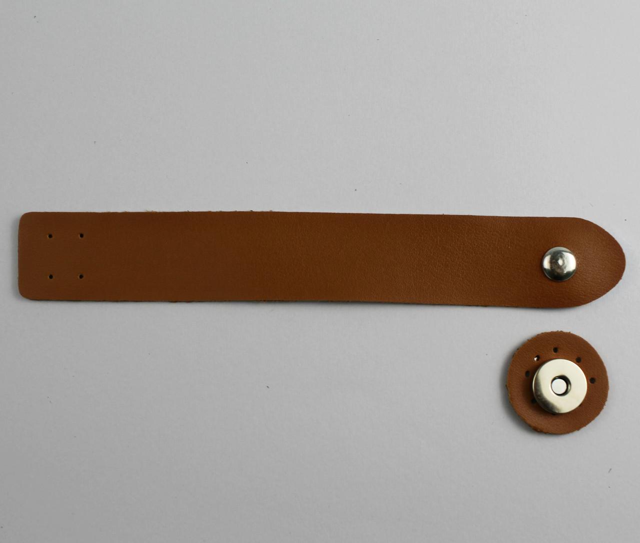 Клапан для сумки экокожа Браун 3х20см фурнитура серебро