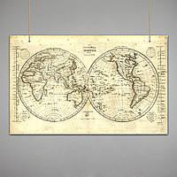 Постер: Карта Мира (Старинная карта, 1839 год)