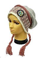 Модная шапка с двумя косичками-завязками