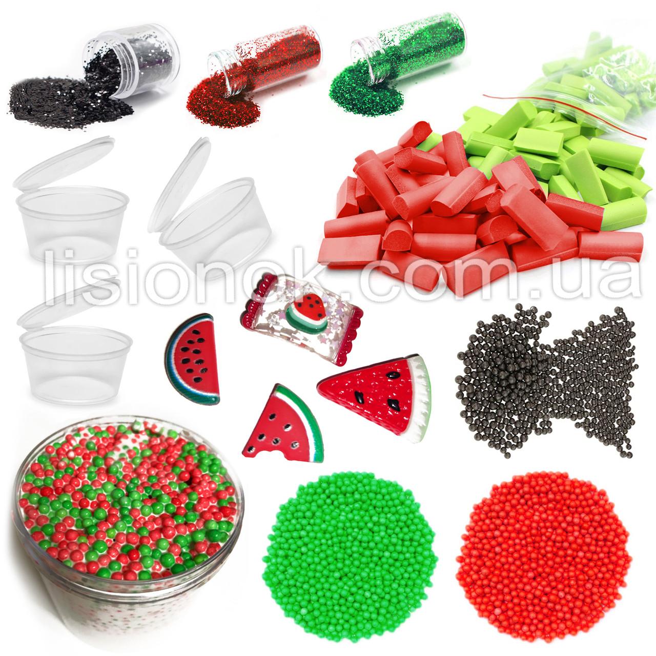 """Slime box """"Кавуновий сорбет"""" набір добавок для слаймів: шармікі, пінопласт, Фоам чанкс, гліттер, баночки"""