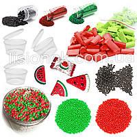 """Slime box """"Кавуновий сорбет"""" набір добавок для слаймів: шармікі, пінопласт, Фоам чанкс, гліттер, баночки, фото 1"""