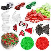 "Slime box ""Арбузный сорбет"" набор добавок для слайма: шармики, пенопласт, фоам чанкс, глиттер, баночки"