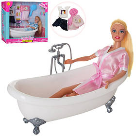 Кукла DEFA 29см, ванна 22см, наряд, полотенце, 2вида, в кор-ке,