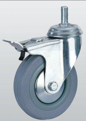 Аппаратное колесо SNB поворотное с отверстием тормозом и резбой 75 мм (3009-S-075-P)