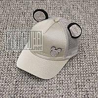 Детская р 48-52 1-4 года стильная летняя кепка бейсболка с сеткой для девочки тонкая на лето 6083 Серый