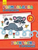 Детская раскраска с прописями. Енот и компания 551002 на рус. языке
