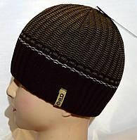 Мужская вязаная шапка на флисе 15047А коричневый, фото 1