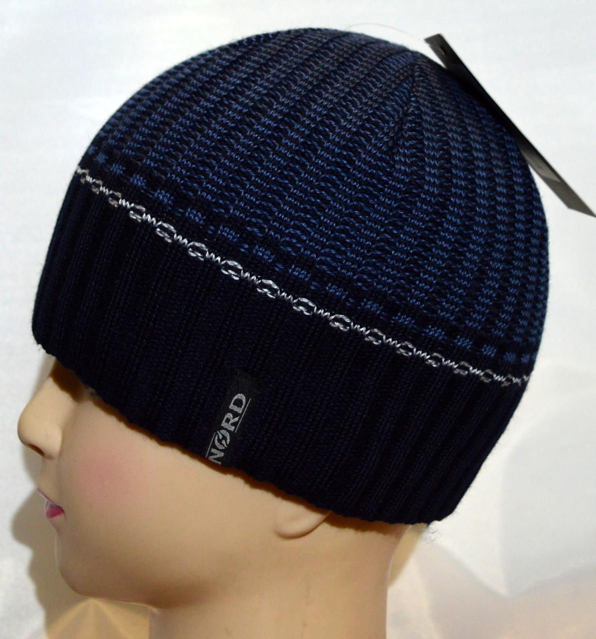 Мужская вязаная шапка на флисе 15047А синий+джинс