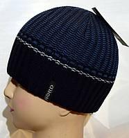 Мужская вязаная шапка на флисе 15047А синий+джинс, фото 1